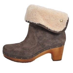 Ugg Boots Lynnea Clog Grey Suede Sherpa Booties